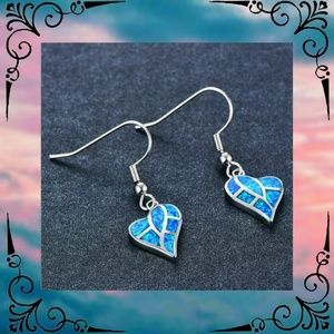 Imitation Blue Fire Opal Silver Heart Earrings